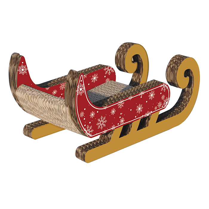title='Christmas Design Sled shape Cardboard Cat Scratcher'
