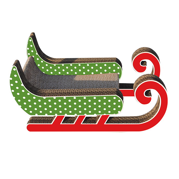 title='Eco-friendly Christmas Design Sled shape Cardboard Cat Scratcher'