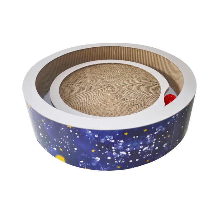Round Cardboard Cat Bed Cat Scratcher with Toy
