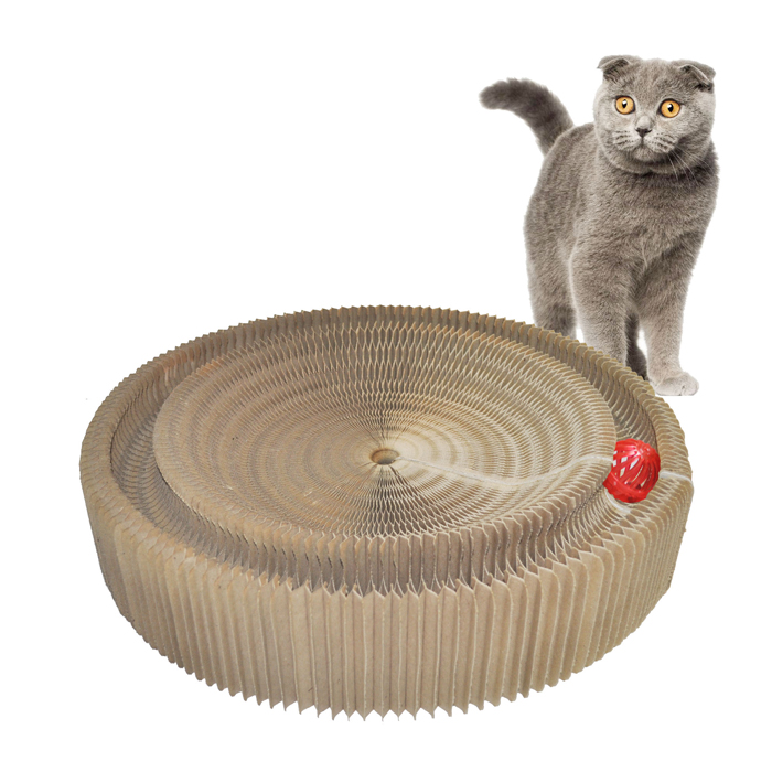 title='Foldable Honeycomb Cardboard Cat Scratcher with Toy'